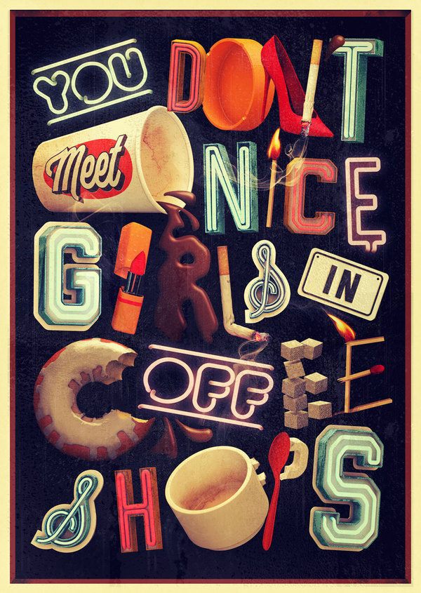 Thomas Burden   Handsome Frank Illustration Agency #letters #retro #nice #illustration #vintage #signs #coffee #type #50s #typography