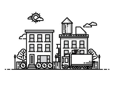 City #vector #line #icon #city #work