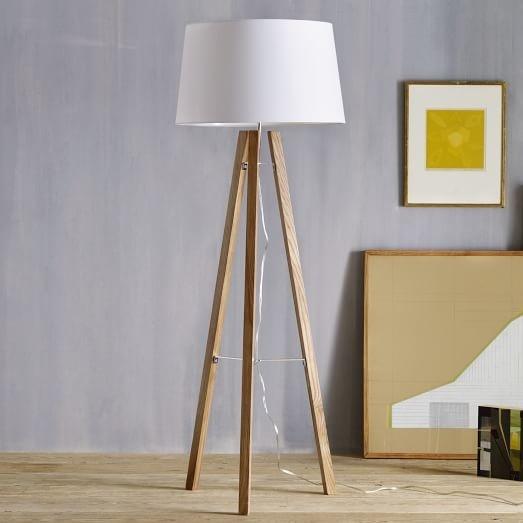 Triple Wood Floor Lamp, West End