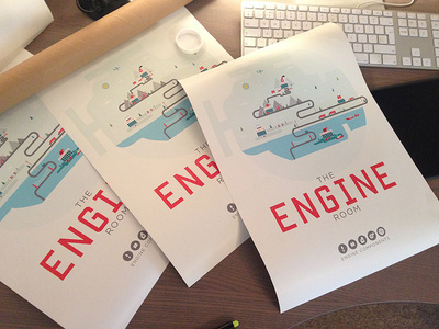 BOOM! Engine Room Posters... #red #cityscape #city #print #engine #illustration #cars #for #poster #blue #sale