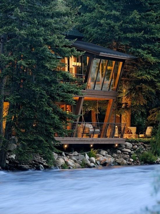 Aspen River House #aspen #woods #architecture #house