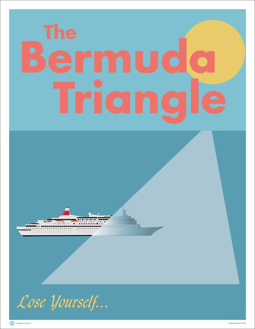 The Bermuda Triangle: Lose Yourself #creative #vector #travel #cabbage #triangle #poster #bermuda