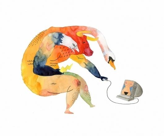 chriskuzma_zeus.jpg (864×720) #illustration #watercolor