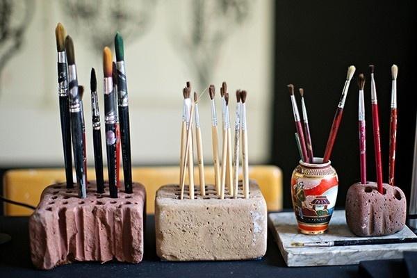 Artist studio in the old vicarage emmas designblogg #interior #design #decor #deco #brushes #decoration