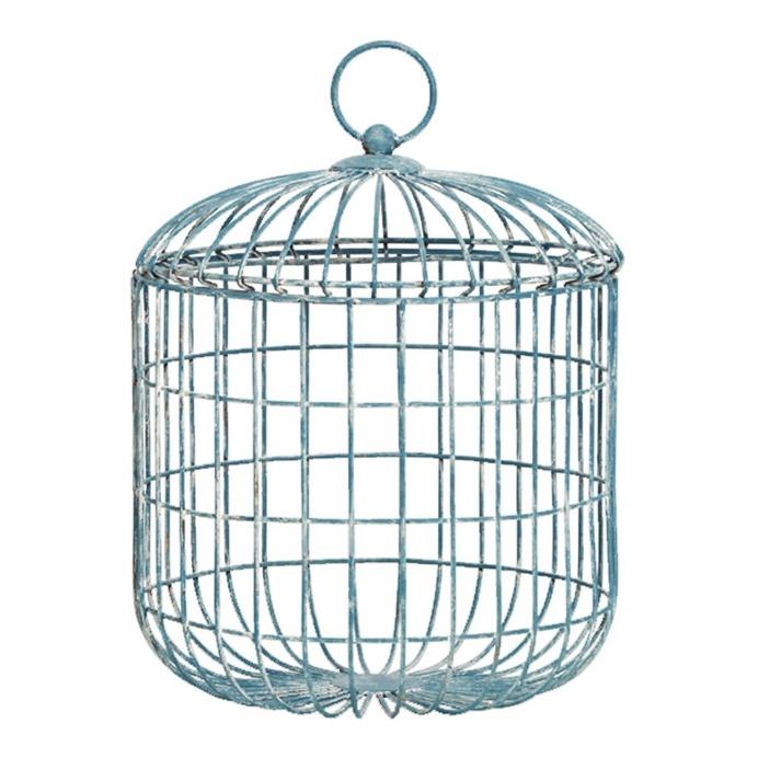 Halliday Metal White Wash Lidded Wired Basket