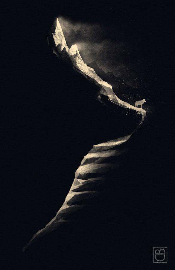 Fox Clift Illusion by Dan Burgess #white #negative #black #space #illustration