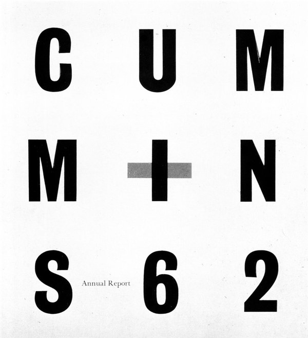 A beautiful annual report cover for Cummins in 1962 by Paul Rand. #typography #annual #grid #rand #cummins #report #paul