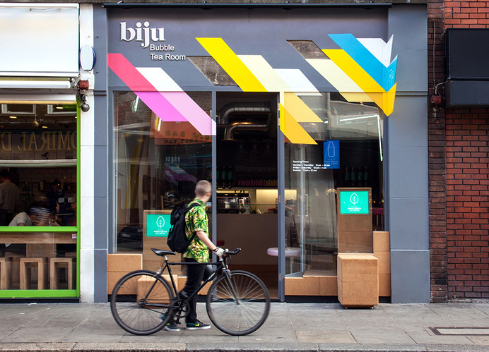 Visual identity and exterior signage by ico for British bubble tea brand Biju #branding #shop #cafe #exterior #signage #colour