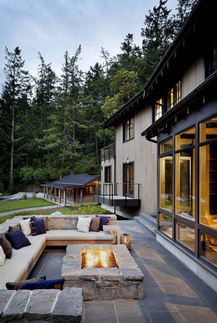 Retreat by DeForest Architects, outdoor, fireplace