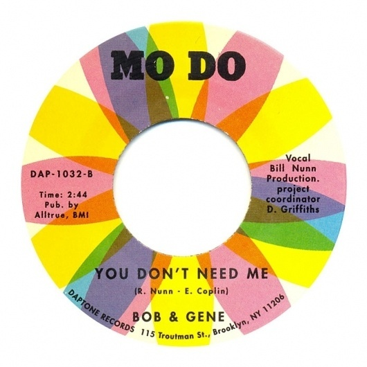 Center Of Attention | The Art Of Record Center Labels | Bob & Gene – You Don't Need Me #vinyl #colorful #label