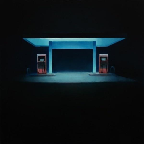 Minimal Night paintings by Trevor Young #night #illustration #petrol #gas #glow #painting #illumination #station