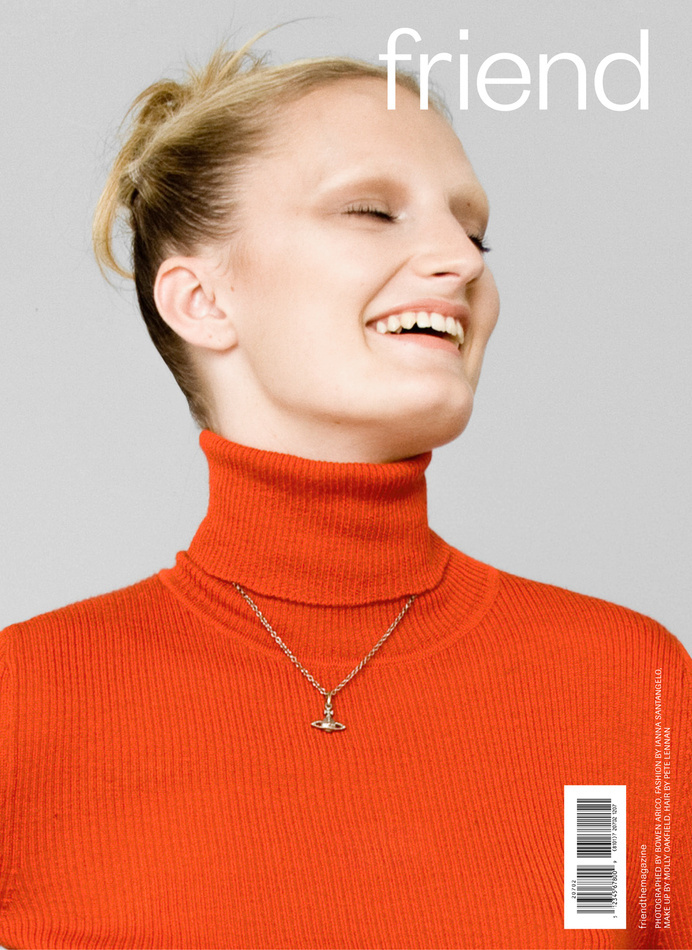 THAT SMILE! DIGITAL COVER No.1 Talisa Quirk photographed by Bowen Arico for http://friendthemagazine.com #talisaquirk #orange #friend #cover #smile #photography #fashion #editorial #magazine