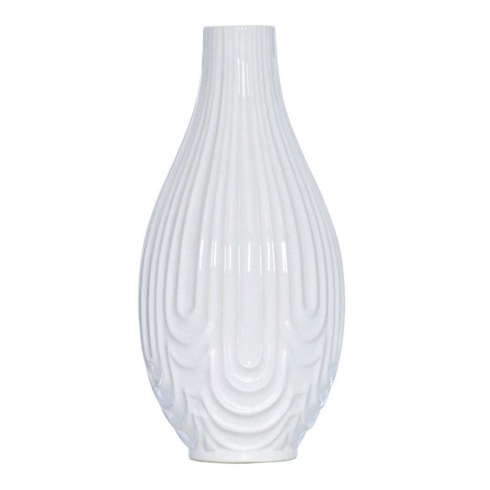 Ridge White Ceramic Teardrop Vase, 37 cm