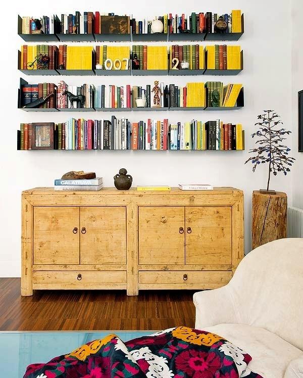 Mix of Modern and Historical Interior Details in Madrid Apartment | Miss Design #interior #bookshelves #modern #design #books