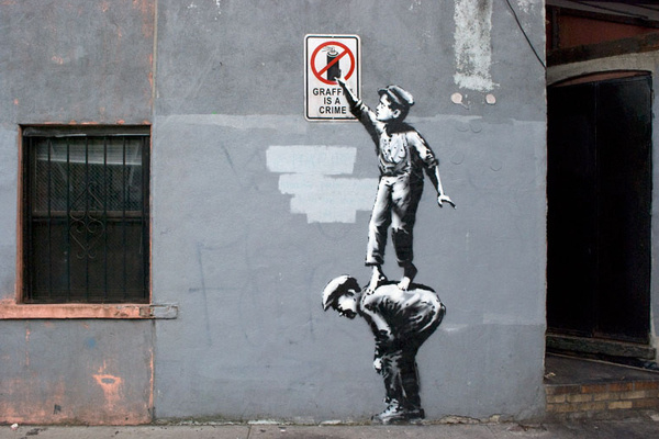 Image of Banksy #graffiti #chinatown #banksy #stencil #crime #art #street #york #new