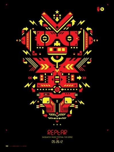 REPTAR | STUBBORN SIDEBURN® #robot #gig #design #graphic #geometric #shape #poster #character #concert