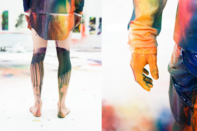 Katharina Grosse for Julian Zigerlis SS14 Through the print collaboration with the Berlin based artist Katharina Grosse, Julian Zigerli dev #paint #colors #painting