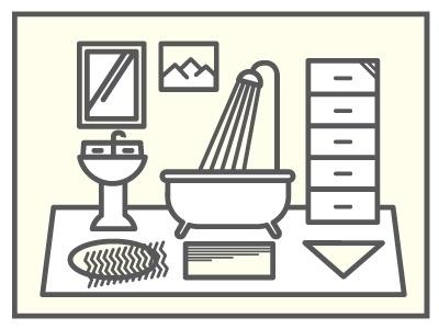 Dribbble - Bathroom by Ryan Hubbard #vector #line #bathroom #illustration #work
