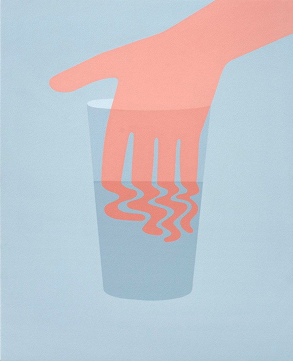 Geoff McFetridge #water #fingers #glass #illustration #hand