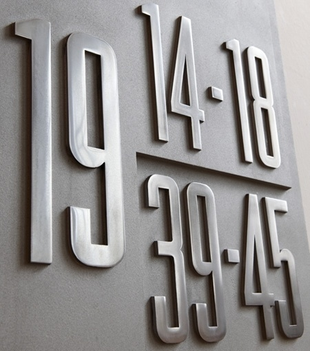 Misc: Recent Work | New at Pentagram | Pentagram #numbers #signage #metal #pentagram
