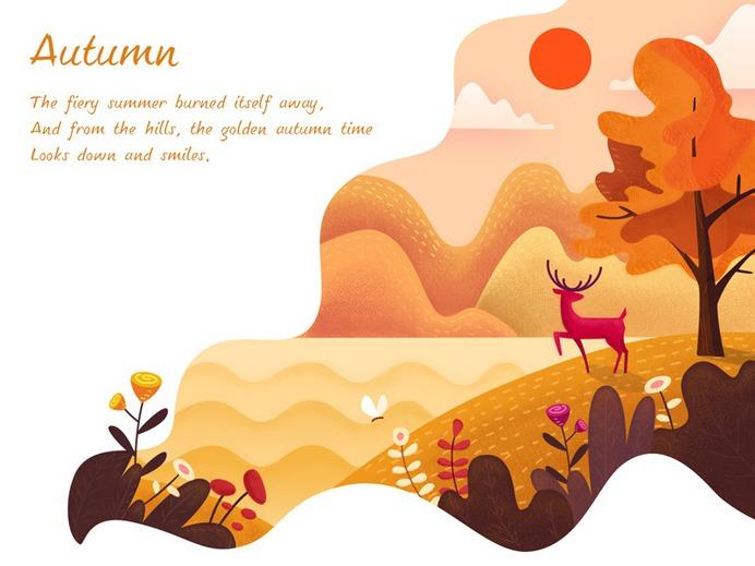 Autumn flower orange leaves deer gold autumn