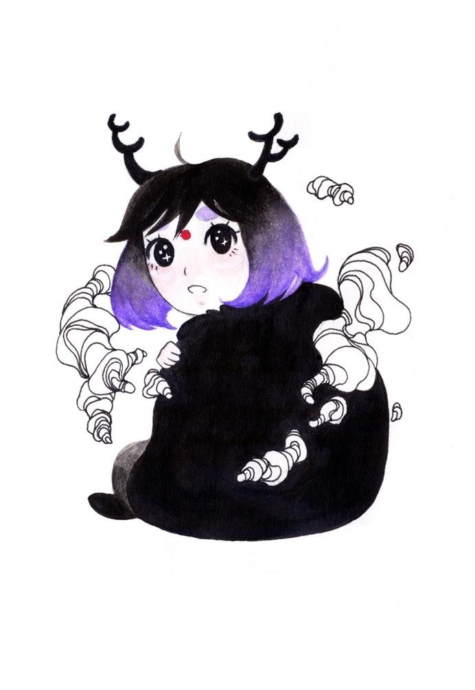 """Little girl"" Watercolor Tumblr: Bana's Kingdom Facebook: Bana's Kingdom #aura #girl #fairy #cloud #eyes #artline #little #nature #watercolor #raven"