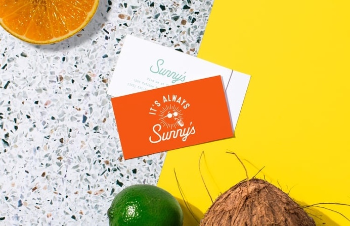 business card for sunny's at the hall, miami. design by sandy ley for love and war nyc