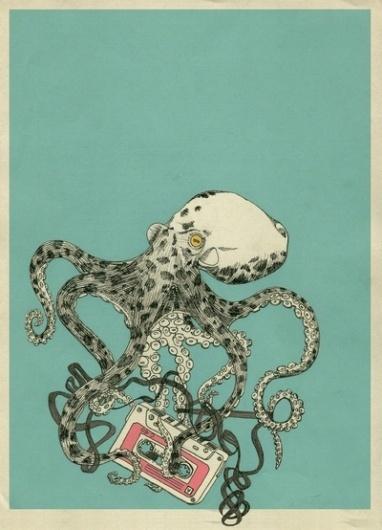 SBR001 Art Print by 555 | Society6 #tape #print #octopus #shirt #audio #kraken