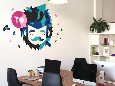 Studio wall #blauw #illustration #wall #snor #blue #face