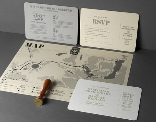 Orthodoxou & Wilhelm Wedding | Lovely Stationery #invite #stamp #wedding #map