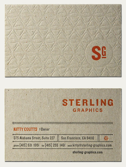 Sterling Graphics business card #emboss #business #card #letterpress #collateral
