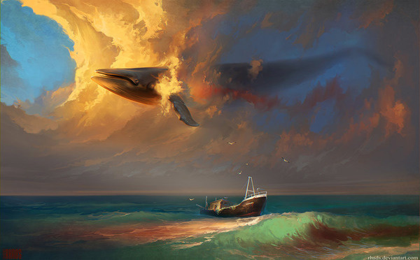 Sorrow For Whales - Digital Paintings by Artem Chebokha #ocean #whale #digital #illustration #sea #floating #painting #art #surreal