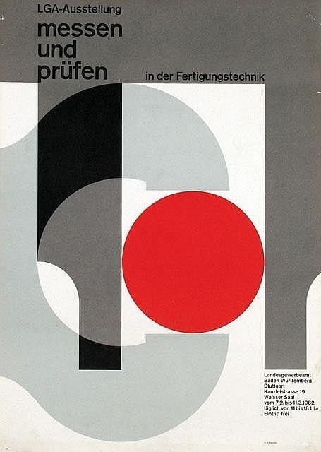 Herbert W. Kapitzki — LGA Ausstellung Stuttgart messen und prüfen (1962) #minimal #poster