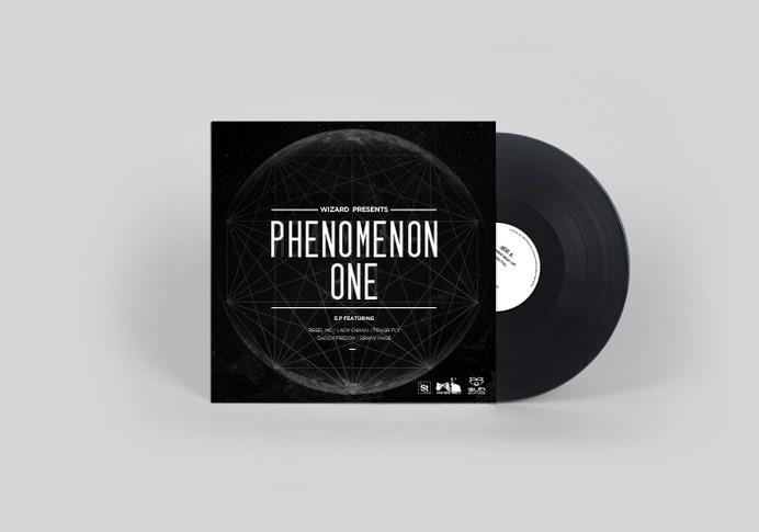 Wizard presents: Phenomenon one #album #white #lines #black #space #artwork #cover #vinyl #and #cosmic #moon