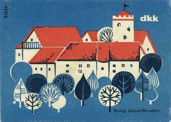 German matchbox label #illustration #vintage #tree