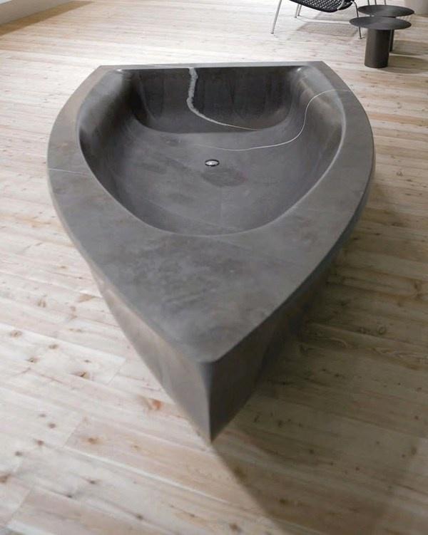 Art bathtub a grey sculpture like boat a close look #artistic #bathroom #furniture #art #bathtub
