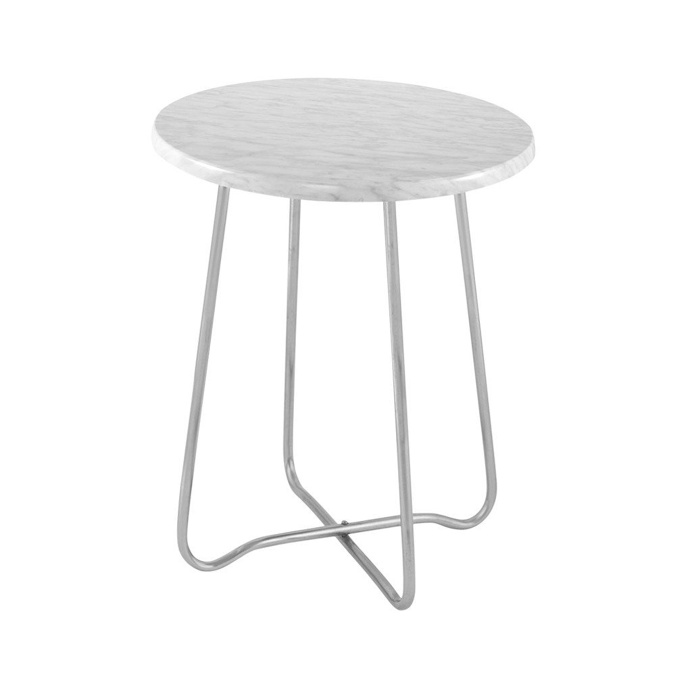 Jessica Marble Side Table Silver 47cmH x 39cmD