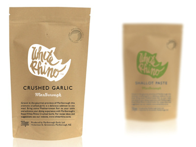 Whiterhinopacket #lettering #packaging #rino #garlic #typography
