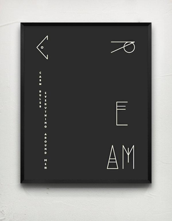 C.R.E.A.M. Black. #cash #cream #design #graphic #song #black #hip #poster #tang #hop #wu #paper #money #typography