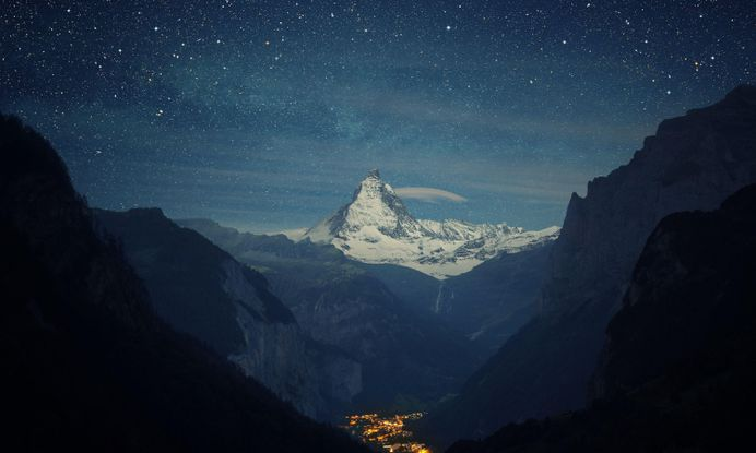 Mountain Stars Snowy – WallpapersBae