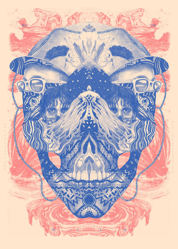 MIXED ILLUSTRATION by Valistika Studio BCN on the Behance Network #skull