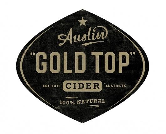 Gold TopCider - TheDieline.com - Package Design Blog #retro #label #logo #vintage #grunge #type