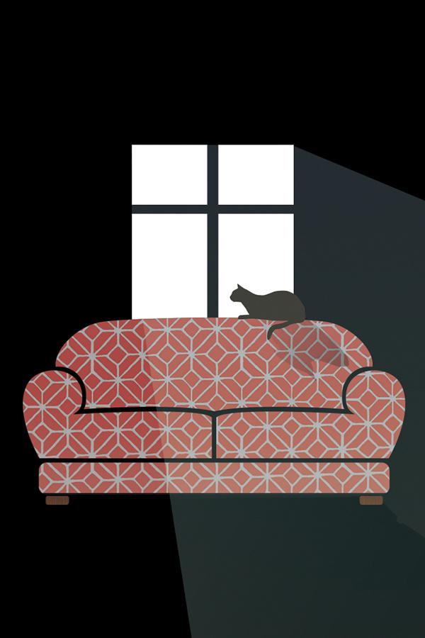 Lazy Day #couch #design #cat #illustration #kitty #dark
