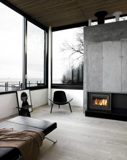 DeadFix » inside #black #home #glass #wood #monochrome #fireplace #lounge