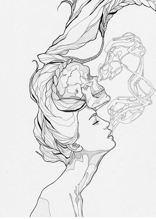 Smoking girl skull tattoo