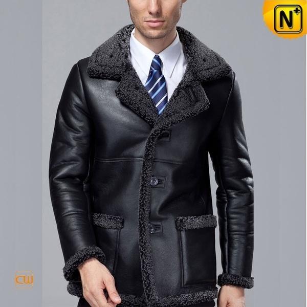 Fur Lined Black Sheepskin Coat CW819436