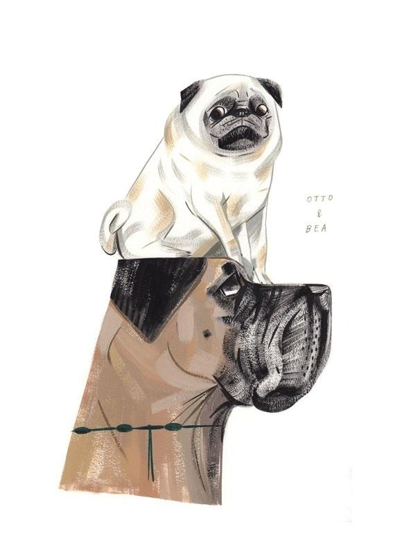 Otto + Bea - pingszoo #illustration #pug #dog