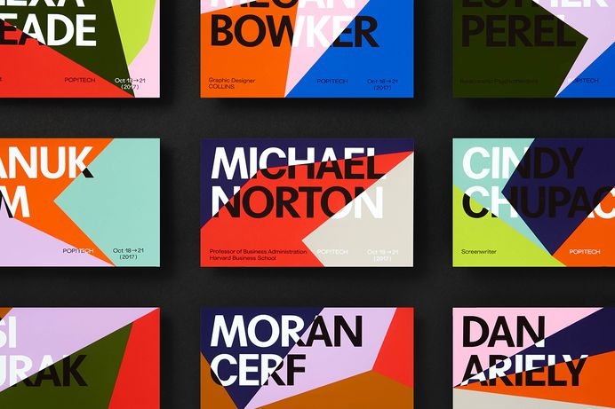 Graphic identity and design for print by New York based Collins for annual conference PopTech