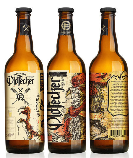 Bitter Old Fecker - Reminds me of Flying Dog, but hand-drawn illustrations will be a lot more time consuming! #packaging #beer