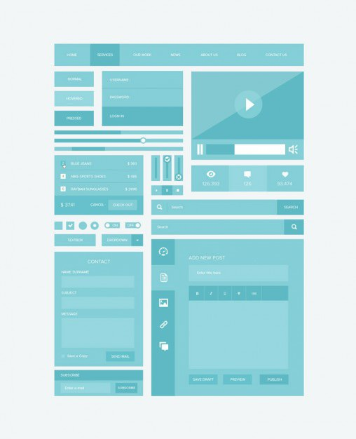 Ui kit in pastel blue Free Psd. See more inspiration related to Blue, Pastel, Ui, Psd, Material, Interface, Ui kit, Kit, Vertical, Psd material, Flattening and Flattened on Freepik.